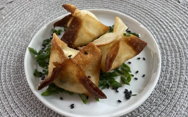 Lox and Cream Cheese Rangoon use egg roll wrappers.