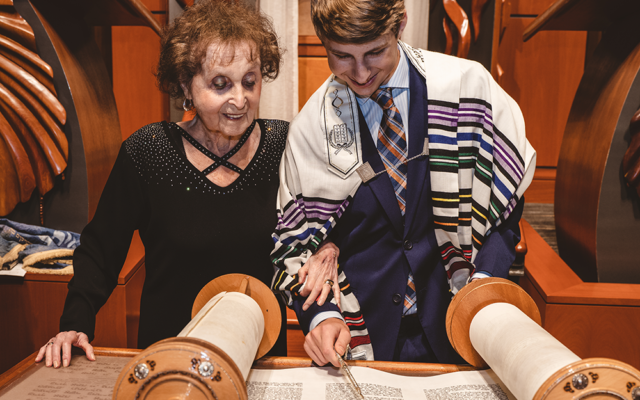 Scensations Photography // Jacob Levin's great-grandmother, Holocaust survivor Janine Storch, was able to attend his bar mitzvah last month.