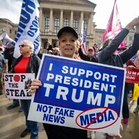 """Supporters of President Donald Trump protest the results of the election with a """"Stop The Steal"""" rally Saturday at the Georgia state capitol in Atlanta. // Nathan Posner for the AJT."""