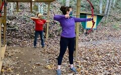 Photo credit Eliana Leader // Small class size allowed for safe individual instruction on the archery range.