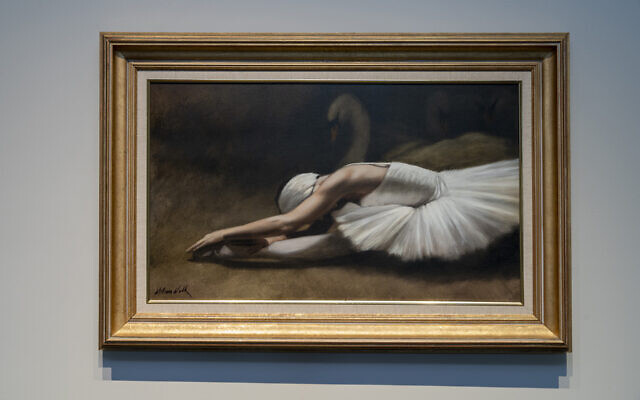 "This dramatic ""Swan Lake"" oil is by William Wolk."