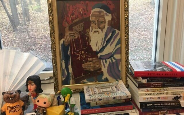 """Photos courtesy of UNC Press // """"The Needlepoint Rabbi,"""" sewn by the author's grandmother, is a touchstone reminder of what material culture is about."""