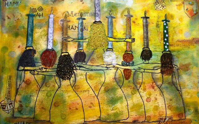 """Photos by Terry Segal // Terry Segal's mixed media work is titled """"Menorah Women."""""""