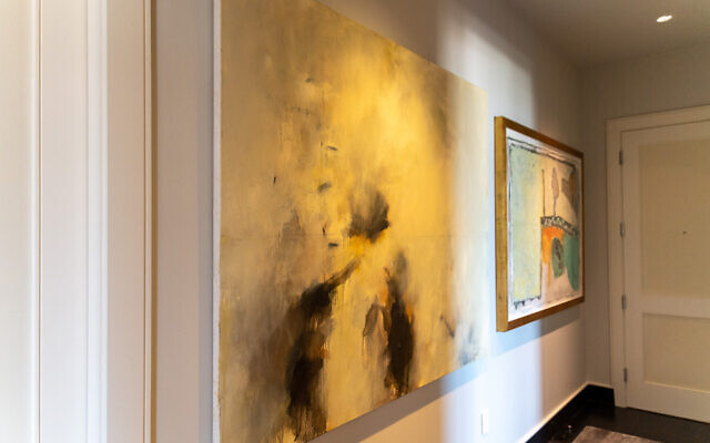 Paintings by Steve Seinberg (New River Flying Bugs) mixed media, Jean-Pierre Bourquin( right)  line the back hall.