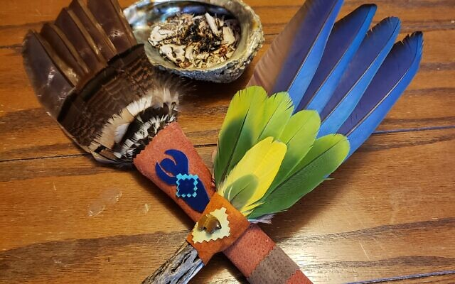 The saging fan is made from wild turkey feathers.