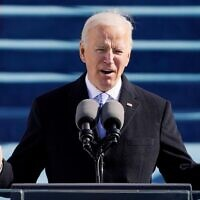 US President Joe Biden speaks during the 59th Presidential inauguration in Washington. Reuters