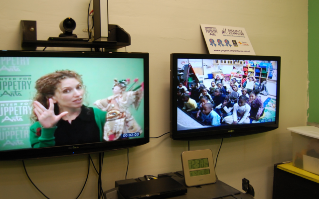 Sara Burmanko presents a program in the Digital Learning Studio at the Center for Puppetry Arts.