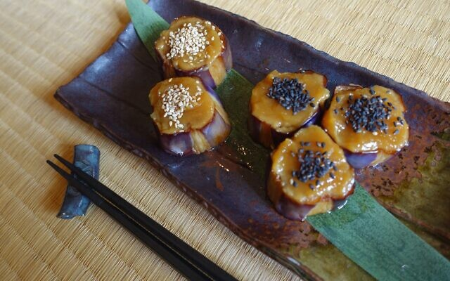 Nasu Dengaku: Grilled eggplant rounds in sweet rich miso.