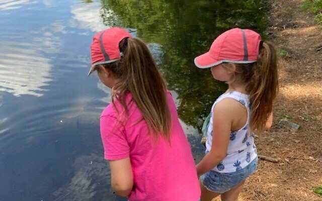 After feeding the turtles and fish, the Schapiro children nature-journaled one item from their walk as part of a nature study at their neighborhood pond.