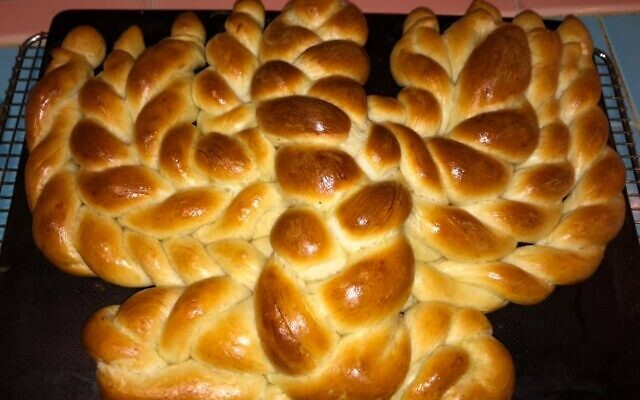 A large menorah challah baked by Steven Baruch was perfect for a Chanukah Shabbat.