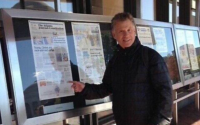 Founder of Springs Publishing/Reporter Newspapers, Steve Levene found the right buyer in Keith Pepper.  Here Levene visits (pre-pandemic) the Newseum in Washington, D.C.