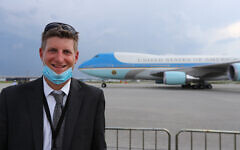 Greg Bluestein poses for a photo after one of then-President Donald Trump's many visits to Georgia last year.