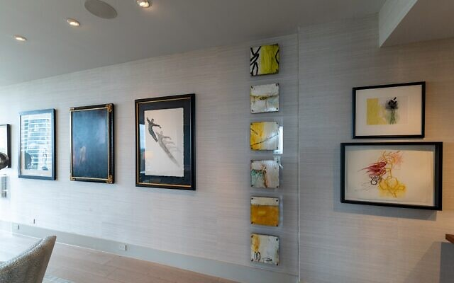 The hall gallery displays a variety of Pliner's art.