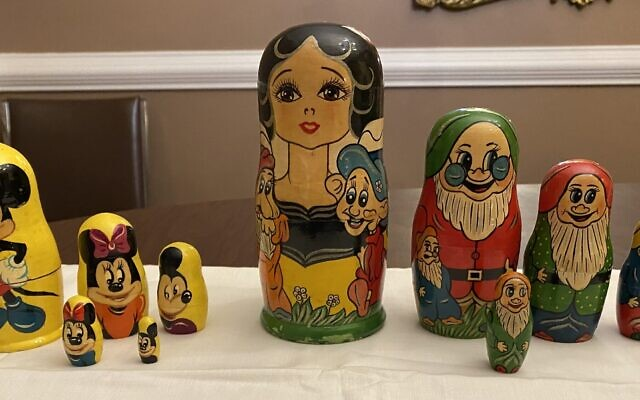 A set of Disney-themed nesting dolls are part of Solomon's collection.