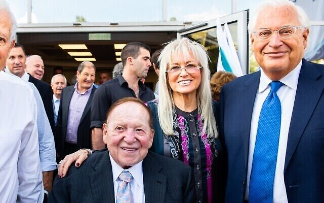 (From L-R) Sheldon Adelson, Miriam Adelson and US Ambassador to Israel David Friedman attend a ceremony marking the start of the school year for the inaugural class of students at Ariel University's medical school on October 27, 2019. (Josef Photography)