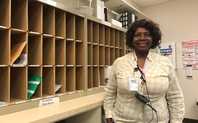 Hamilton at the Federation mailroom. During her time at the Federation, she helped many who worked there realize the importance of their jobs.