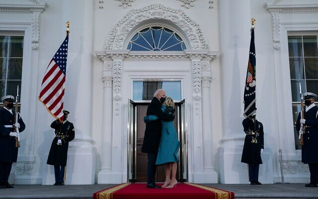 Biden arrives at the White House for the first time as president. Evan Vucci/AP