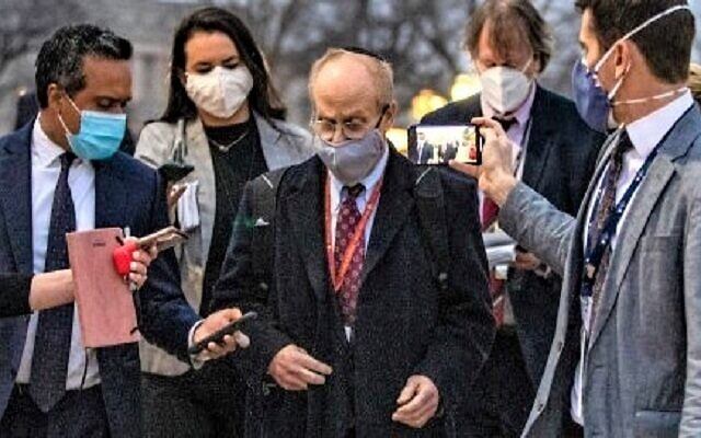David Schoen, lawyer for former President Donald Trump, talks to reporters as he departs the U.S. Capitol on the third day of Trump's second impeachment trial on February 11, 2021 in Washington, D.C. TASOS KATOPODIS/GETTY IMAGES