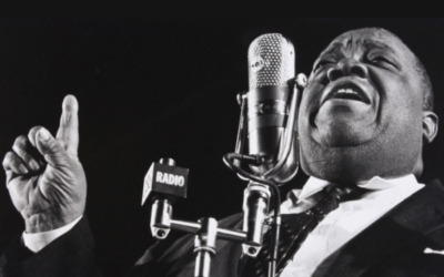 Photographer Herb Snitzer captured singer Jimmy Rushing in 1959 with the Duke Ellington orchestra.