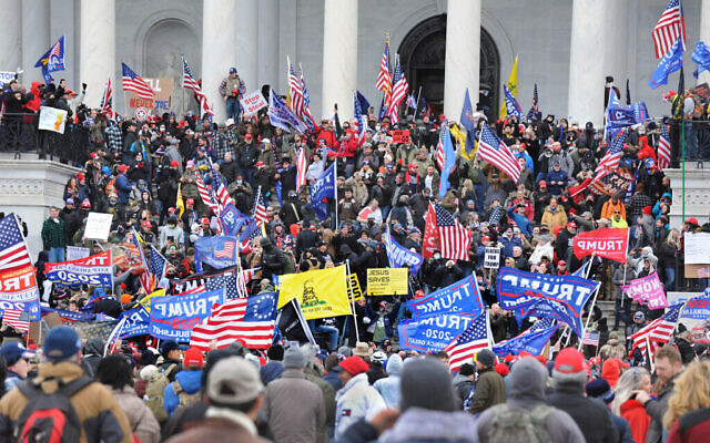The Pro-Trump rally at the US Capitol, Washington DC on January 6, 2021 (Lloyd Wolf via Times of Israel)