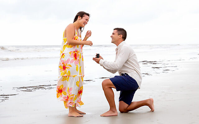 Mitchell proposed in front of the whole mishpachah on the Hilton Head beach.