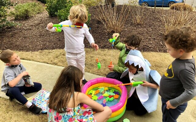 Fishing was among the carnival games in Purim Around East Cobb.