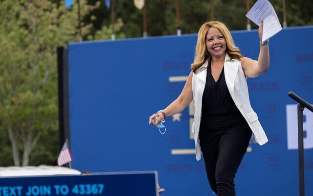 Congresswoman Lucy McBath (D-GA) arrives at a drive in rally for President Biden celebrating his 100 days in office, in Duluth, Georgia on April 29th, 2021. // Nathan Posner for the AJT