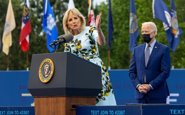 First Lady Dr. Jill Biden speaks at a drive in rally for the President celebrating his 100 days in office, in Duluth, Georgia on April 29th, 2021. // Nathan Posner for the AJT