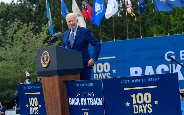 President Joe Biden speaks at a drive in rally celebrating his 100 days in office, in Duluth, Georgia on April 29th, 2021. // Nathan Posner for the AJT