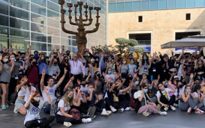 Students are seen outside Ben Gurion Airport after arriving in Israel.