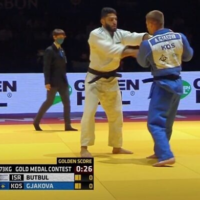 YouTube Screen capture from video of Israeli judoka Tohar Butbul, left, during the finals at the European Judo Championships.