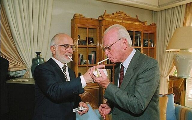 Israel Government Press Office // King Hussein of Jordan and Israeli Prime Minister Yitzhak Rabin in October 1994.