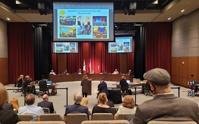 Chuck Berk and Sally Levine address Sandy Springs City Council on May 5.