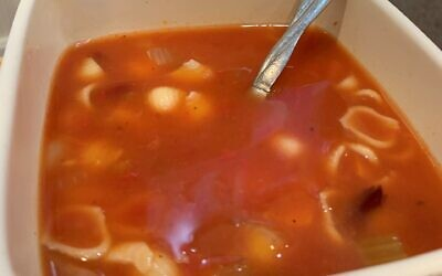 The Pasta Fagoili soup is rich and hearty with dark and light beans and bay leaves in a light tomato base.