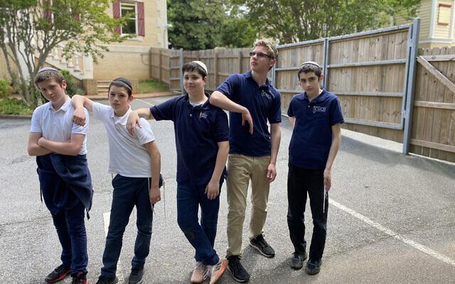 Chaya Mushka eighth grade graduates are Mendel Sollish, Nosson Gurary, Asher Kessler, Ari Blanks and Levi Charytan.