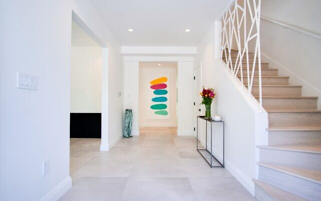 Jordan created the entryway artwork for the Pachters to add a vibrant first impression.