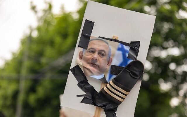 Protestors hold a sign against Israeli Prime Minister Bibi Netanyahu during a pro-Palestine protest outside the Israeli Consulate. // Nathan Posner for the AJT