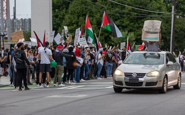 Protestors are seen on the street and in cars during a pro-Palestine protest. // Nathan Posner for the AJT