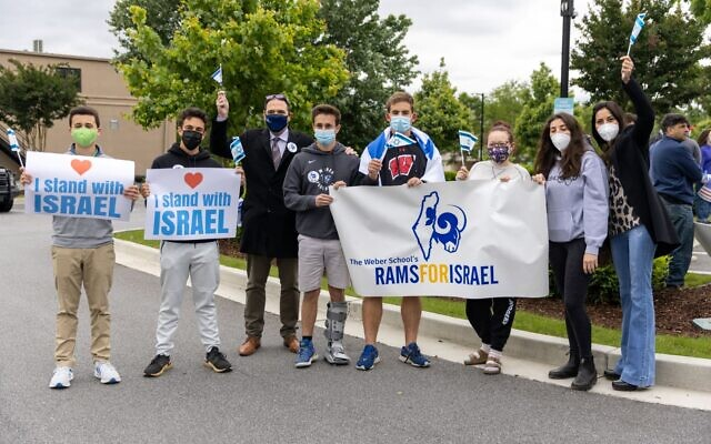 Photos by Nathan Posner for the AJT// The Weber School's pro-Israel group, Rams for Israel, at the Sandy Springs rally.