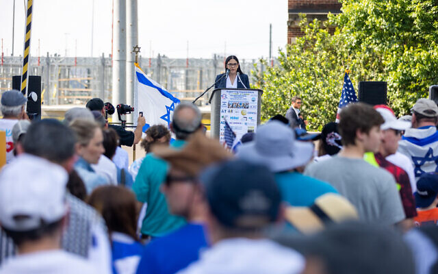 Consul General of Israel to the Southeast US Anat Sultan-Dadon speaks at a pro-Israel rally in front of the consulate.