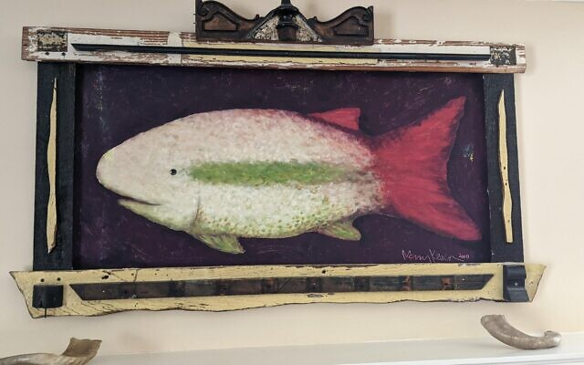 Mary Klein's Fish Painting has an integrated polychrome frame