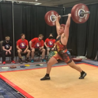 Mark Mitchell competes at the Georgia state championships for Olympic weightlifting in April.
