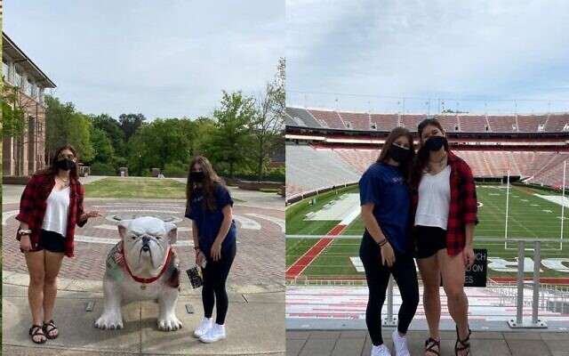 Katie, in red, pictured here with her sister Sara, plans to attend UGA in the fall.
