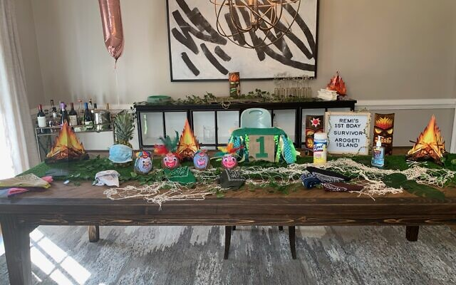 The table décor was highlighted by grandmother Sharon Moskowitz' coconut heads.