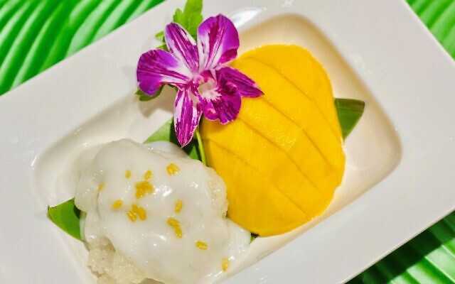 Courtesy of Banana Leaf // Dessert: Fresh mango, sticky rice, sweet coconut milk, fried mung bean is a popular authentic dessert.
