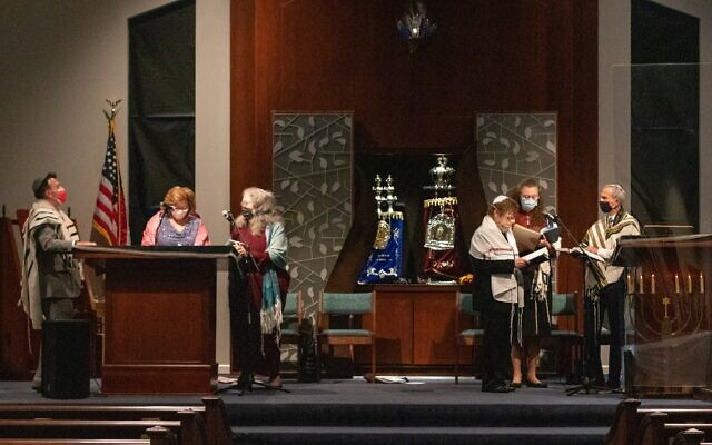 The new glass ner tamid, eternal light, was installed above the ark the day before the b'nai mitzvah