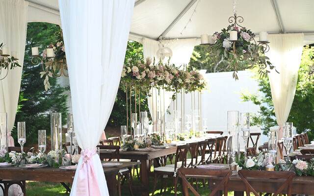 Beth Intro Photography // Jim White Designs created magical elevated scenes high above the tent ceiling.