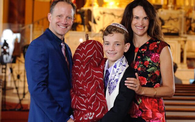 Photo by Joseph Aczel // David Jones, London Jones and Karen Isenberg Jones at The Temple for London's Sept. 12 ceremony.