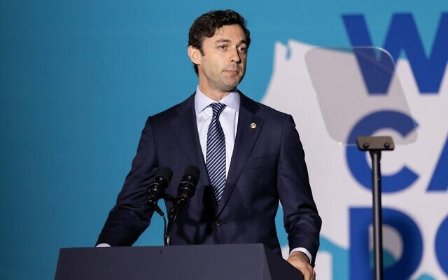 """Nathan Posner for the AJT// Sen. Jon Ossoff speaks at a """"We Can Do This"""" vaccine tour event with Vice President Kamala Harris in Atlanta June 18."""