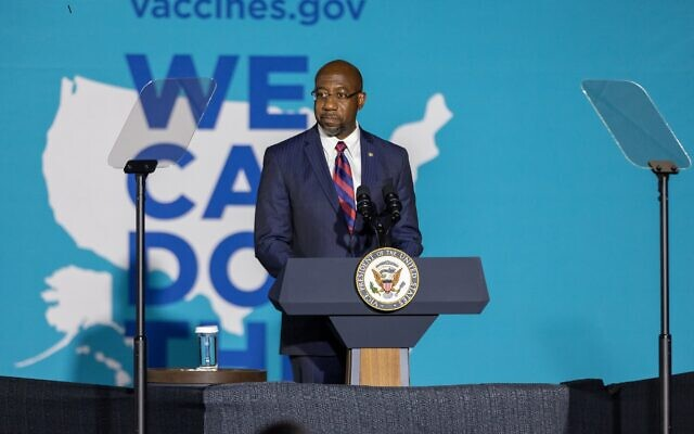"""Nathan Posner for the AJT// Sen. Raphael Warnock speaks at a """"We Can Do This"""" vaccine tour event with Vice President Kamala Harris in Atlanta June 18."""